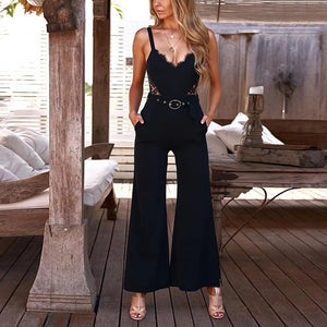 Sexy V-neck strapless jumpsuit