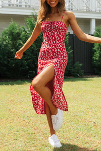 Floral print v-neck short-sleeved lace dress wq36