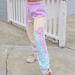 Casual sports tie-dyed printed cotton loose trousers