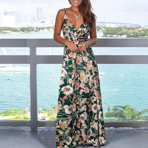 Fashion strap print beach dress