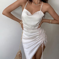 Sexy backless strap solid color dress
