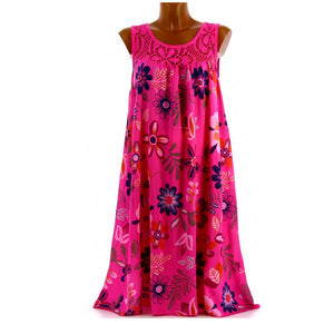 Plus Size Floral Printed Crew Neck Sleeveless Maxi Dress