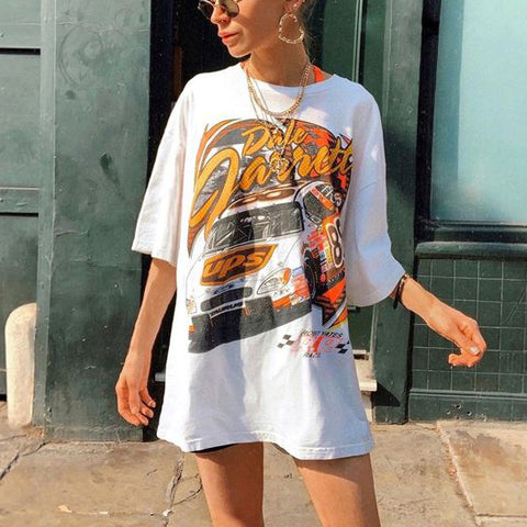 Retro Print Long T-Shirt