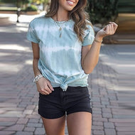 Fashion - gradient tie-dye T-shirt top with short sleeves