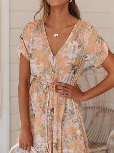 Sexy V-neck printed short-sleeved dress