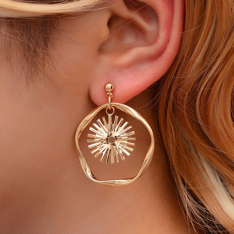 Simple geometric sun flower wave earrings