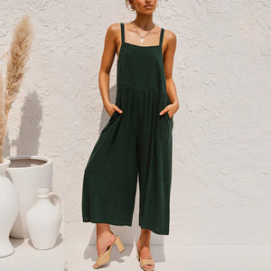Casual fashion solid color suspenders jumpsuit