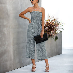 Fashion print wrap chest button tie pocket jumpsuit
