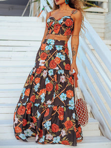 Women's Fashion Flower Print Sleeveless Suit Skirt