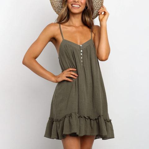 Strap solid color pleated mini dress