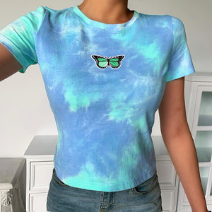 Short-sleeved slim contrast tie-dye butterfly badge short sleeve top