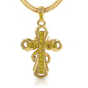 Lemonade Ribbon Cross Pendant  Chain Small