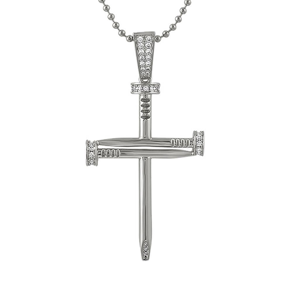 CZ Nail Cross Rhodium Pendant