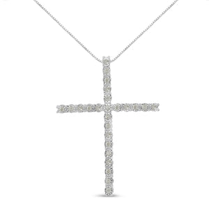 Sterling Silver 1/2ct Diamond Cross Pendant