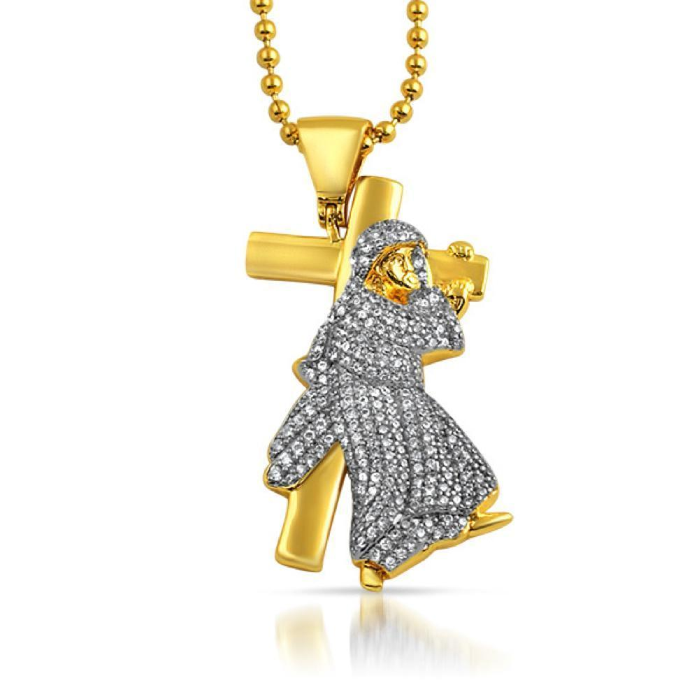 Jesus Carrying Cross Gold CZ Pendant