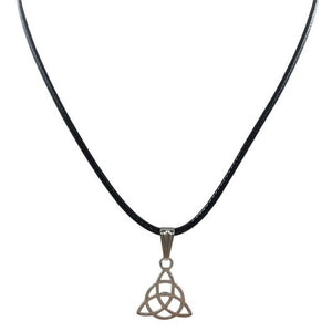 New Retro Triangle Necklace Pendant Black Leather