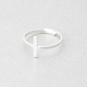 Simple Sideways Cross Ring Adjustable Stainless