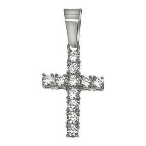 3MM CZ Tennis Cross Stainless Steel