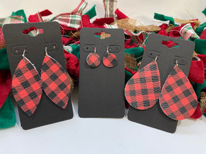 Small Red and Black Buffalo Plaid Print Leather Earrings