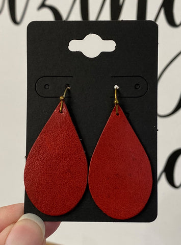 Gorgeous Rose Red Leather Earrings
