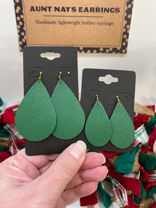 Pretty Green Saffiano Textured Leather Earrings