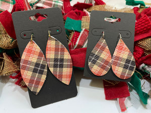 Tan Red Black and White Plaid Leather Earrings