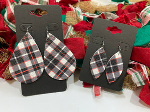 White Black and Red Plaid Leather Earrings