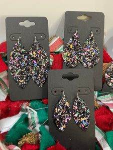 Multi-colored Black Silver Sparkly Holiday Glitter Fabric Earrings