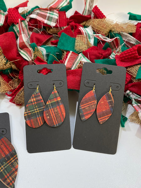 Classic Red Christmas Plaid Cork and Leather Earrings