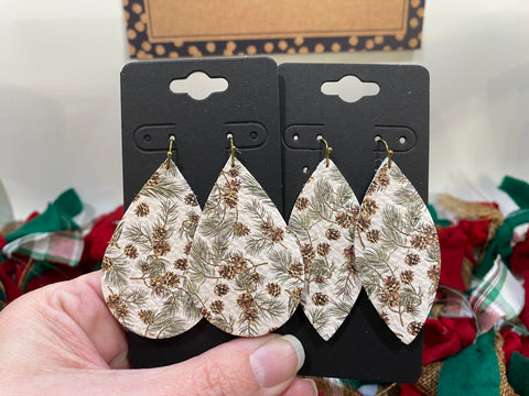 White Leather with Green Pine Tree Branches and Pinecones Earrings