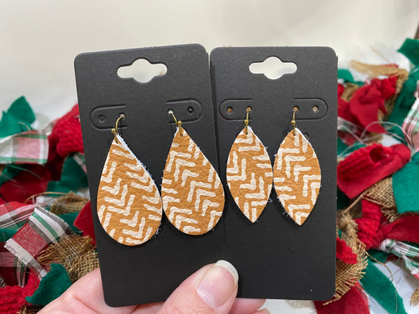 Golden Mustard Yellow with White Broken Arrow Chevron Print Leather Earrings