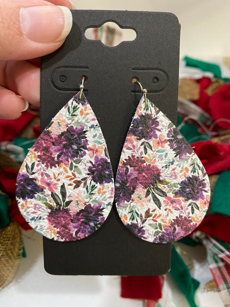 Gorgeous Plum and Purple Flower Printed Leather Earrings