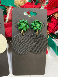 Green Christmas Bow with a Black Saffiano Leather Circle Earrings