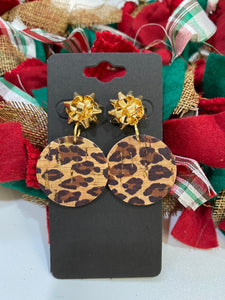 Gold Christmas Bow with a Leopard Print Cork Circle Earrings