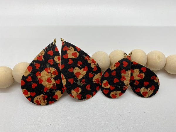 Black Cork with Natural and Red Hearts on Leather Earrings