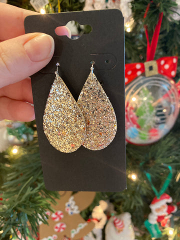 Light Gold Glitter Leather Earrings