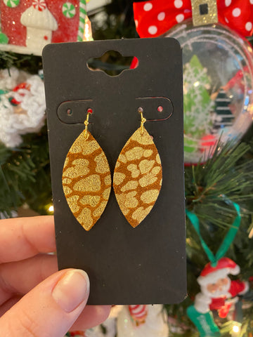 Cognac and Metallic Gold Leopard Print Leather Earrings