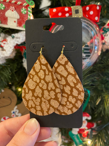 Cognac and Metallic Rose Gold Leopard Print Leather Earrings