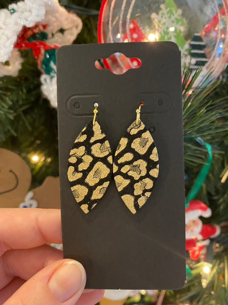 Black and Metallic Gold Leopard Print Leather Earrings