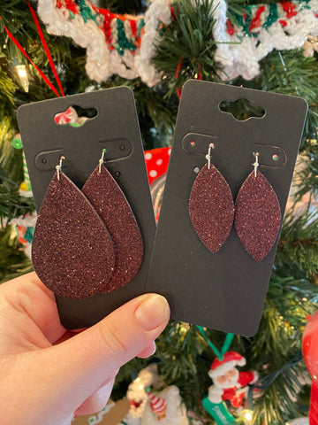Fine Burgundy Glitter Leather Earrings