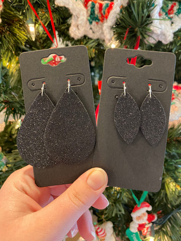 Fine Black Glitter Leather Earrings