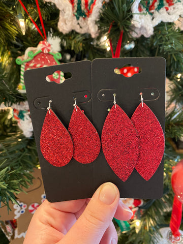 Fine Red Glitter Leather Earrings