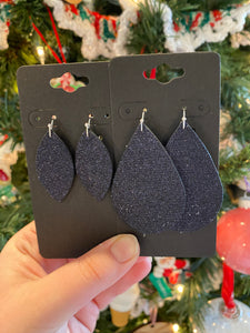 Fine Midnight Blue Glitter Leather Earrings