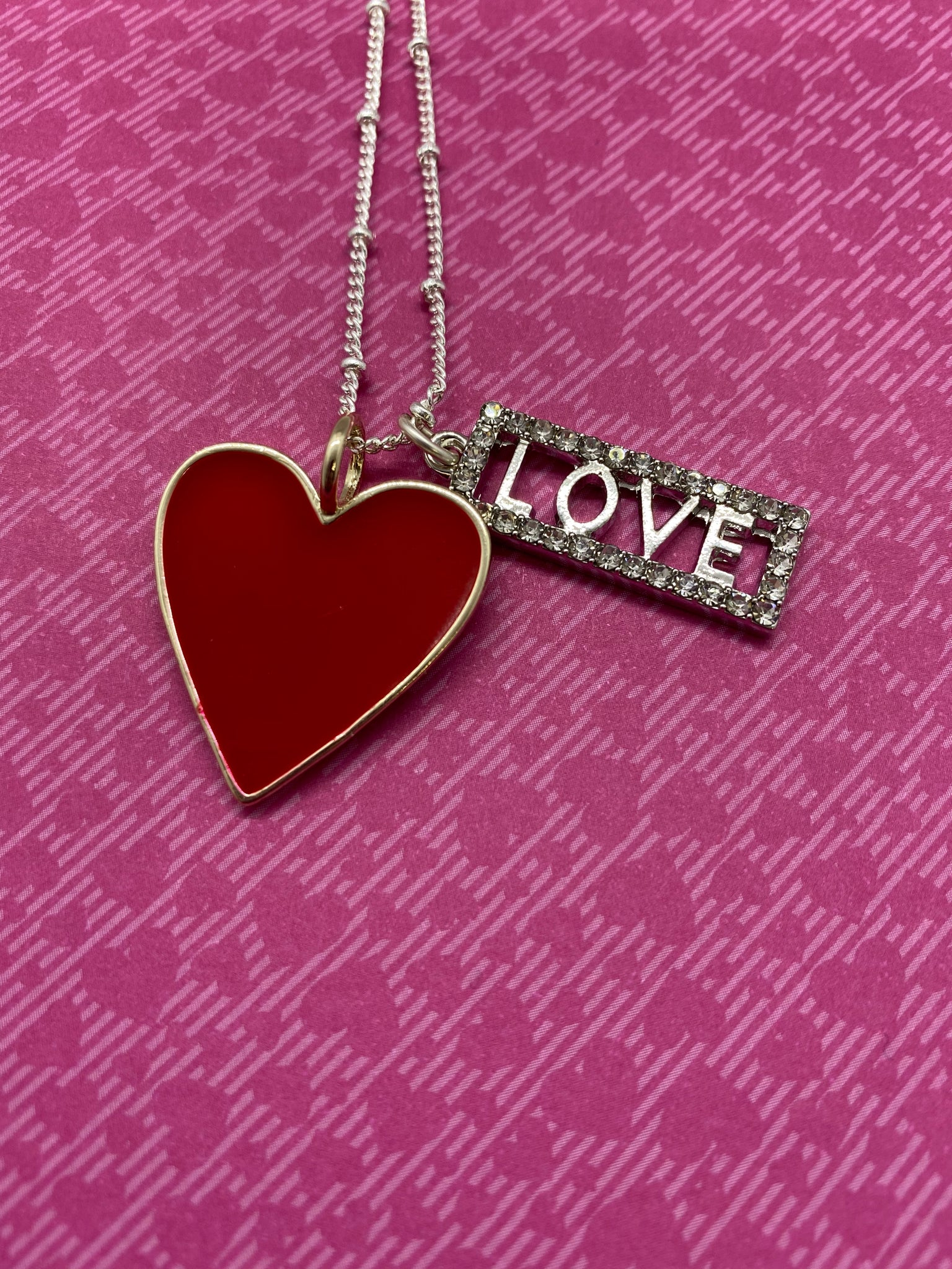 Red Enamel Heart Necklace with Rhinestone LOVE Charm