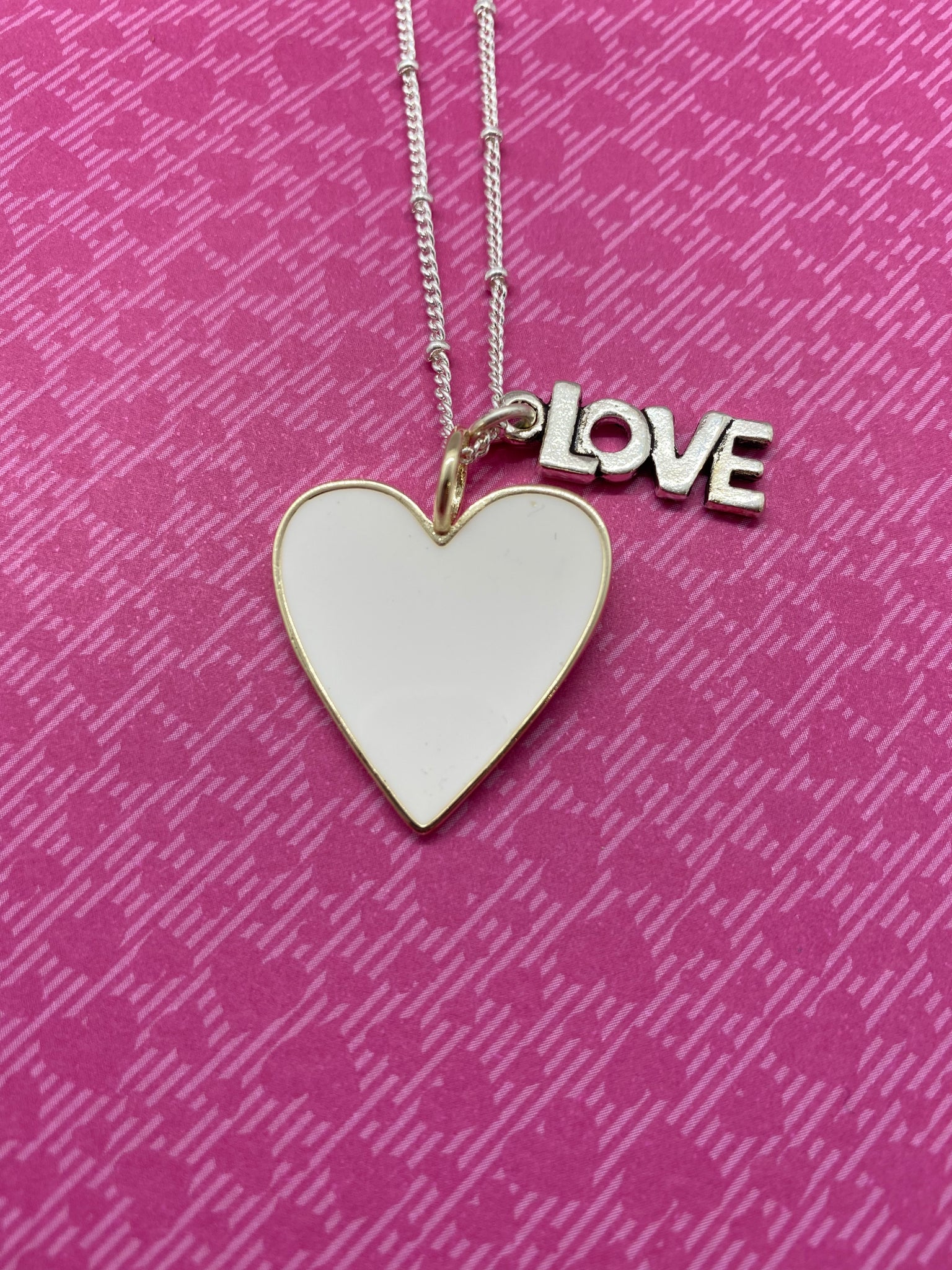 White Enamel Heart Necklace with LOVE Charm