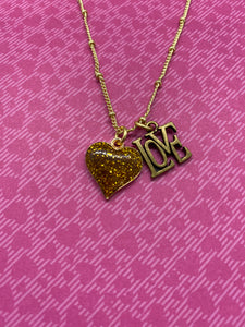 Gold Glitter Heart Necklace with Antique Gold LOVE Charm