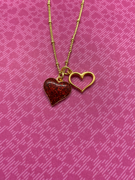 Red Glitter Heart Necklace with Gold Heart Charm