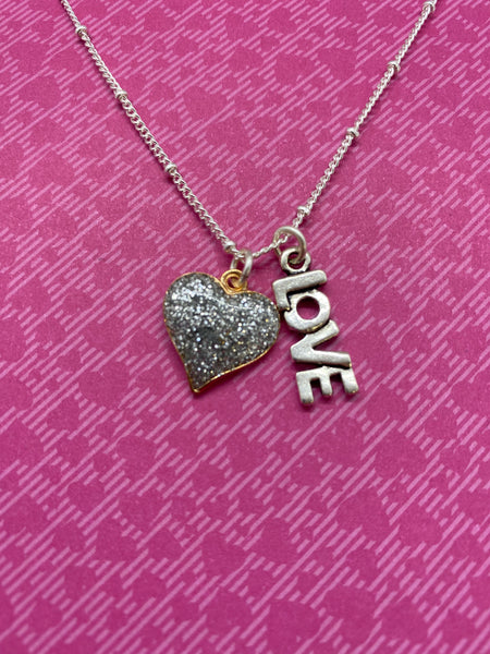 Silver Glitter Heart Necklace with LOVE Charm