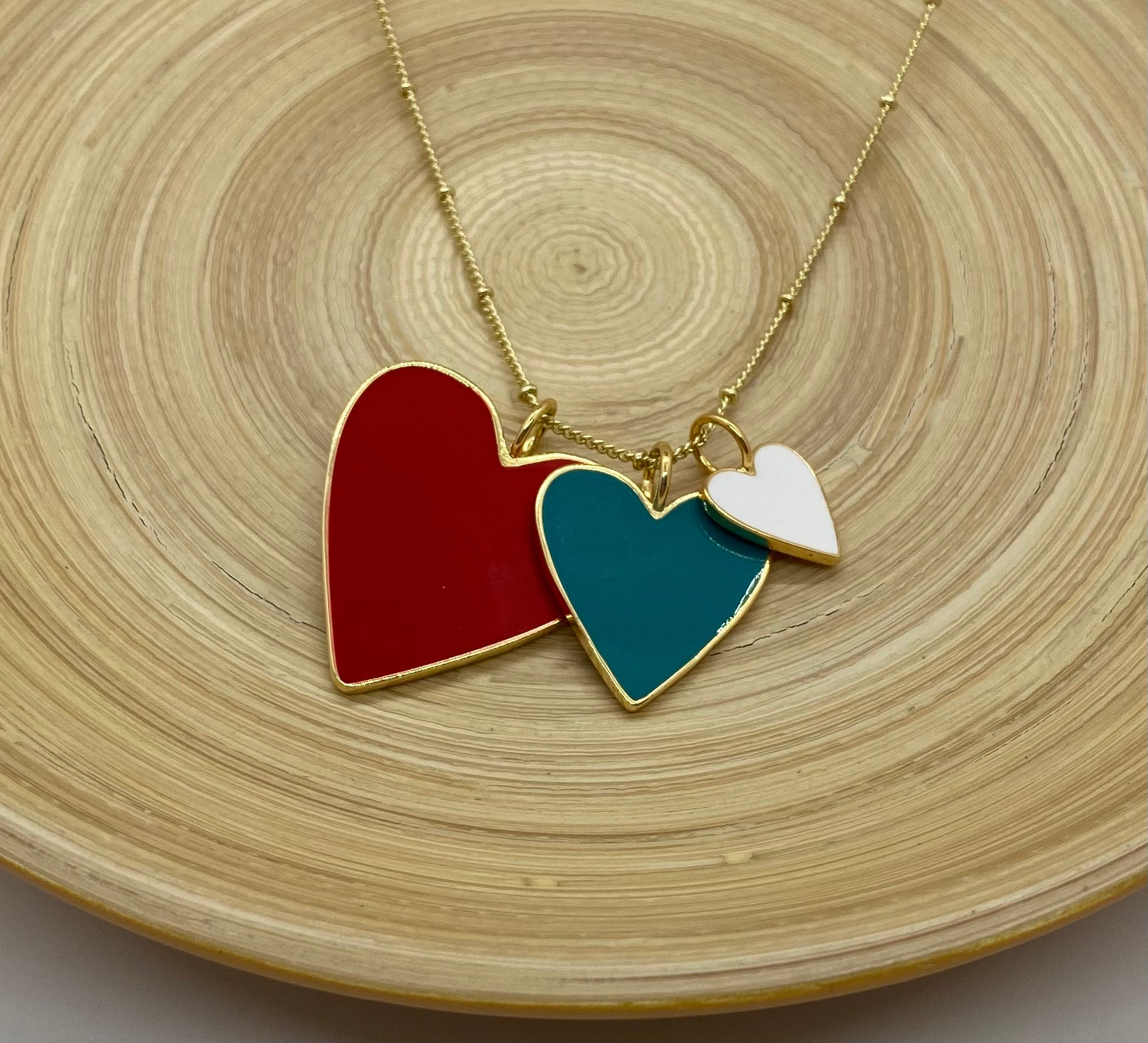 Heart Trio Necklace - Red Teal and White