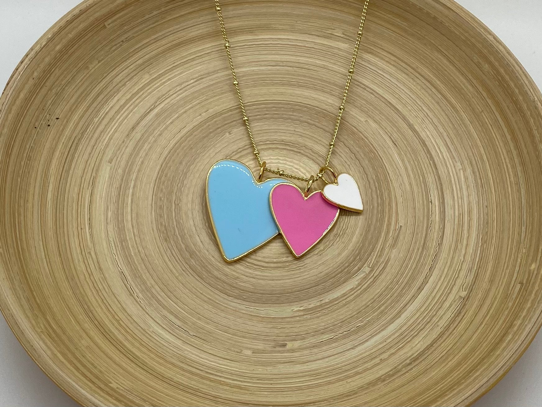 Heart Trio Necklace - Light Blue Pink and White